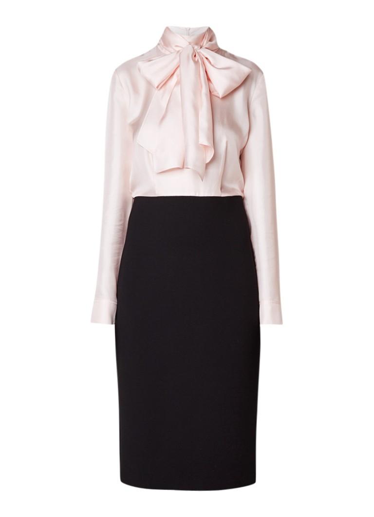 Ted Baker Jensah midi-jurk in zijdeblend met contrast en strikdetail lichtroze