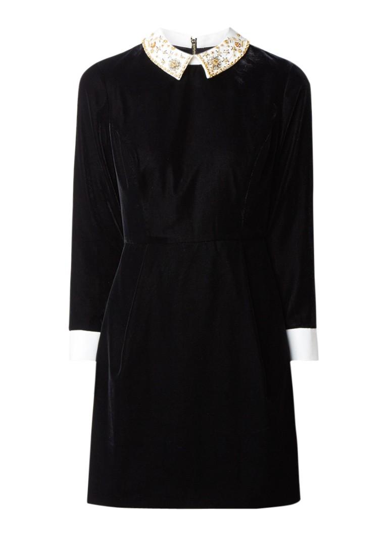 Ted Baker A-lijn jurk van fluweel met strass kraag zwart