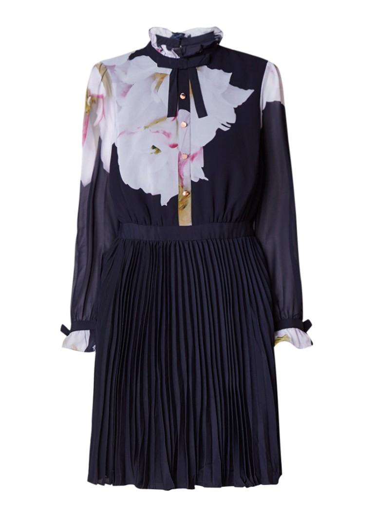 Ted Baker Ellona A-lijn blousejurk met plissé en bloemendessin donkerblauw