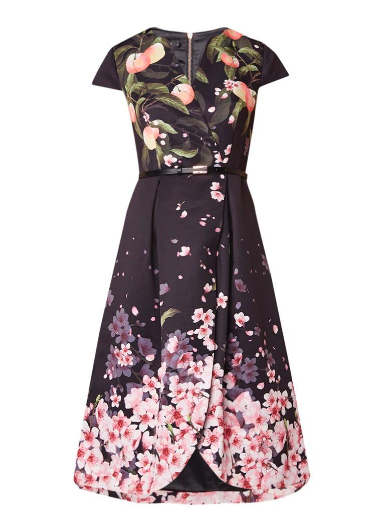 Ted Baker Fredica A-lijn jurk met bloemendessin en ceintuur zwart