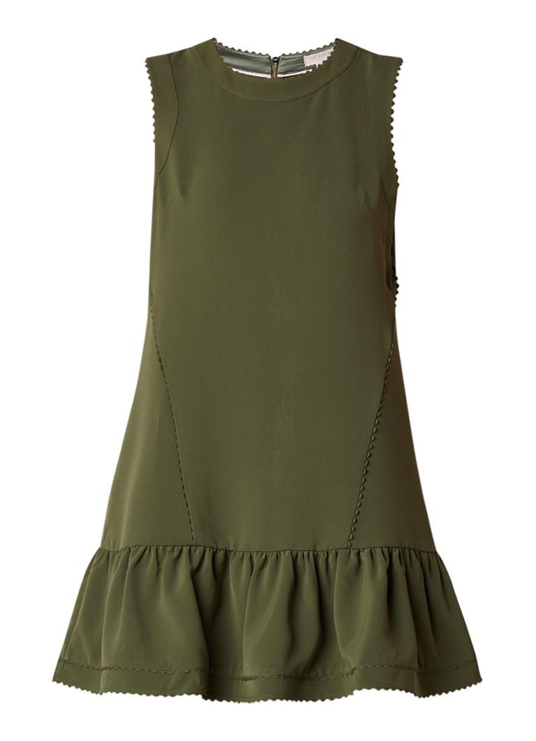 Ted Baker Mandii mouwloze A-lijn jurk met geschulpte details legergroen