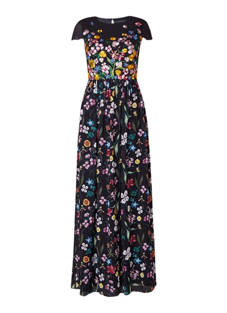 Ted Baker Mariz maxi-jurk met bloemendessin en borduursels zwart