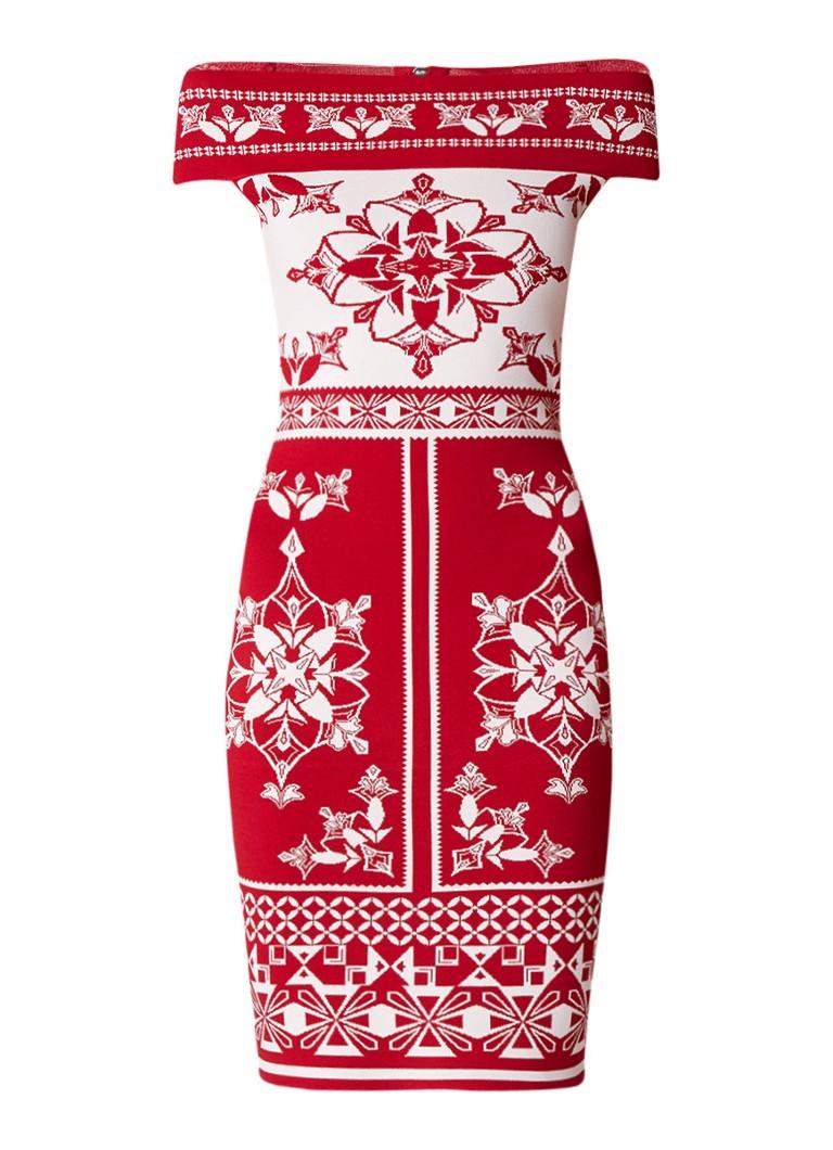 Ted Baker Popily off shoulder jurk met ingebreid dessin rood