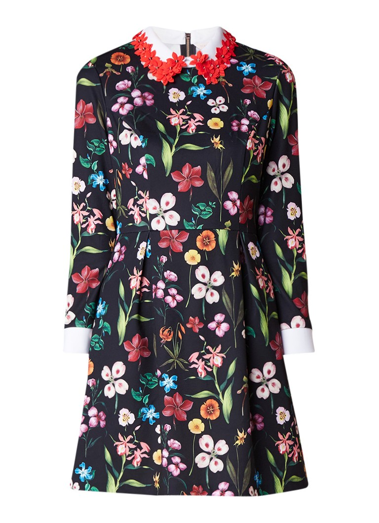 Ted Baker Tillena A-lijn jurk met bloemendessin en applicatie zwart