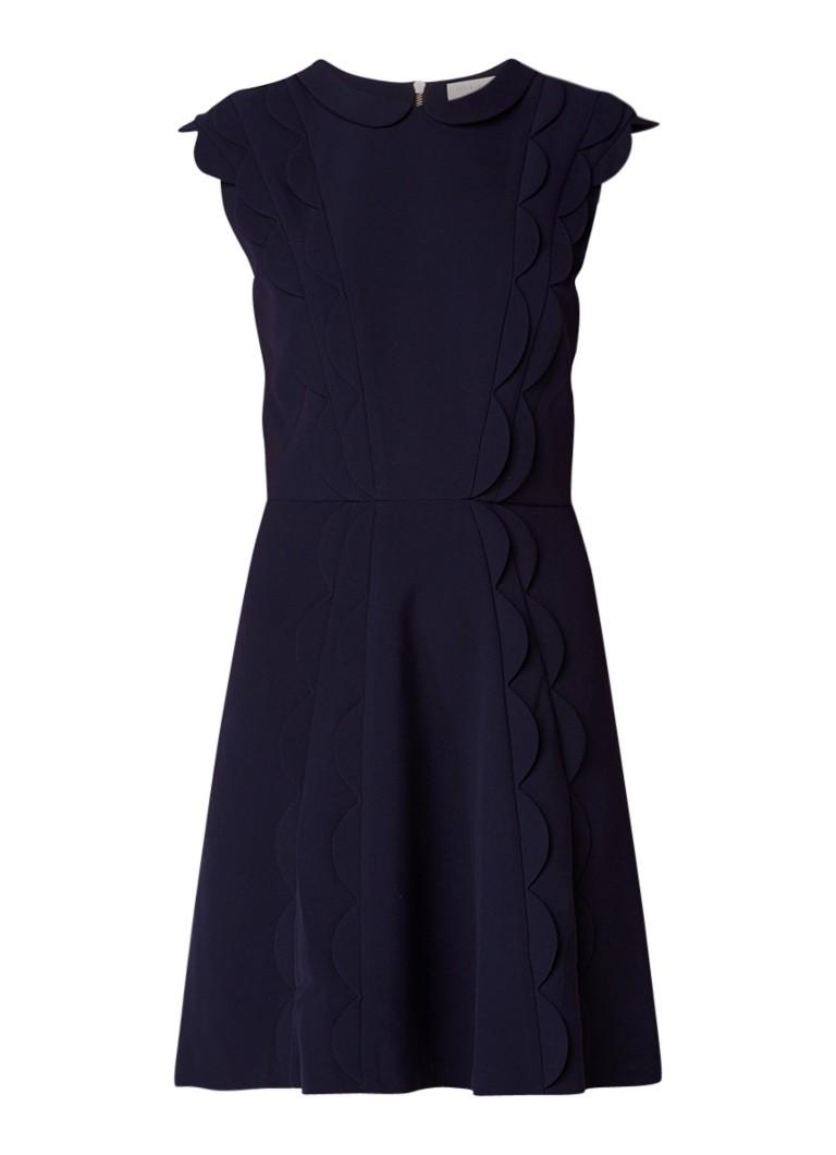 Ted Baker Triski A-lijn jurk met geschulpte boorden aubergine
