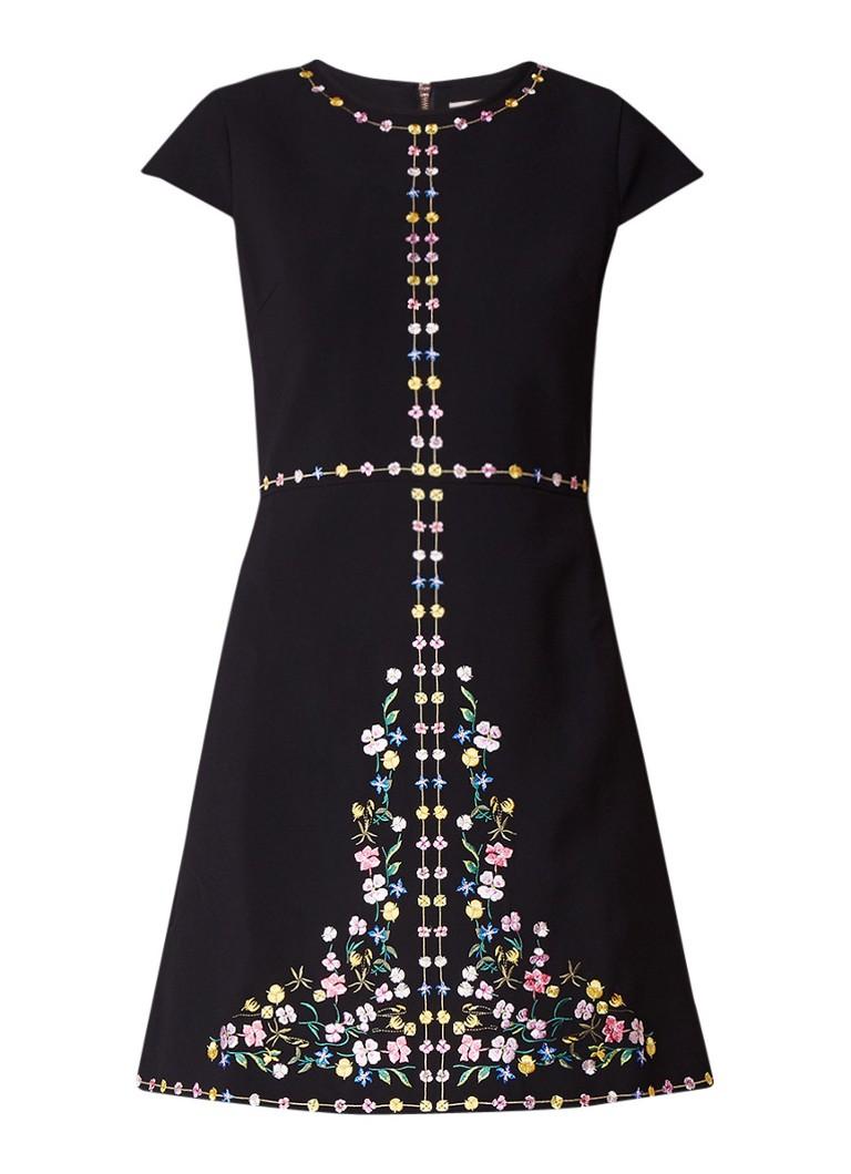 Ted Baker Jeorija A-lijn jurk van crêpe met borduursels zwart