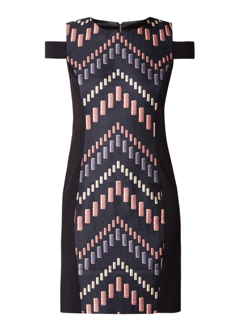 Ted Baker Zyra bodycon jurk met cold shoulder en dessin zwart