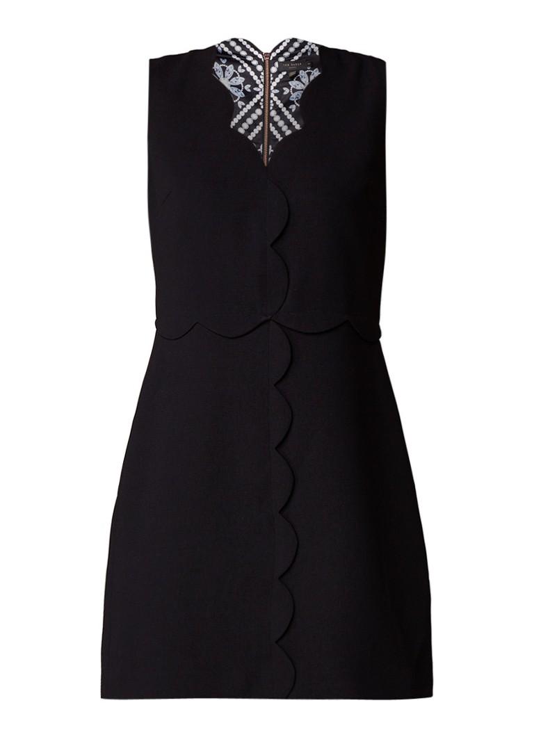 Ted Baker Rubeyed A-lijn jurk met geschulpte afwerking zwart