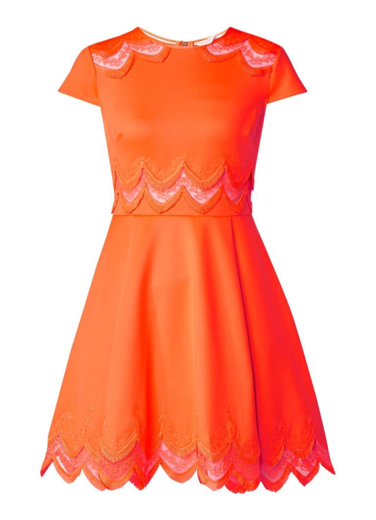 Ted Baker Rehanna A-lijn jurk met inzet van kant lime