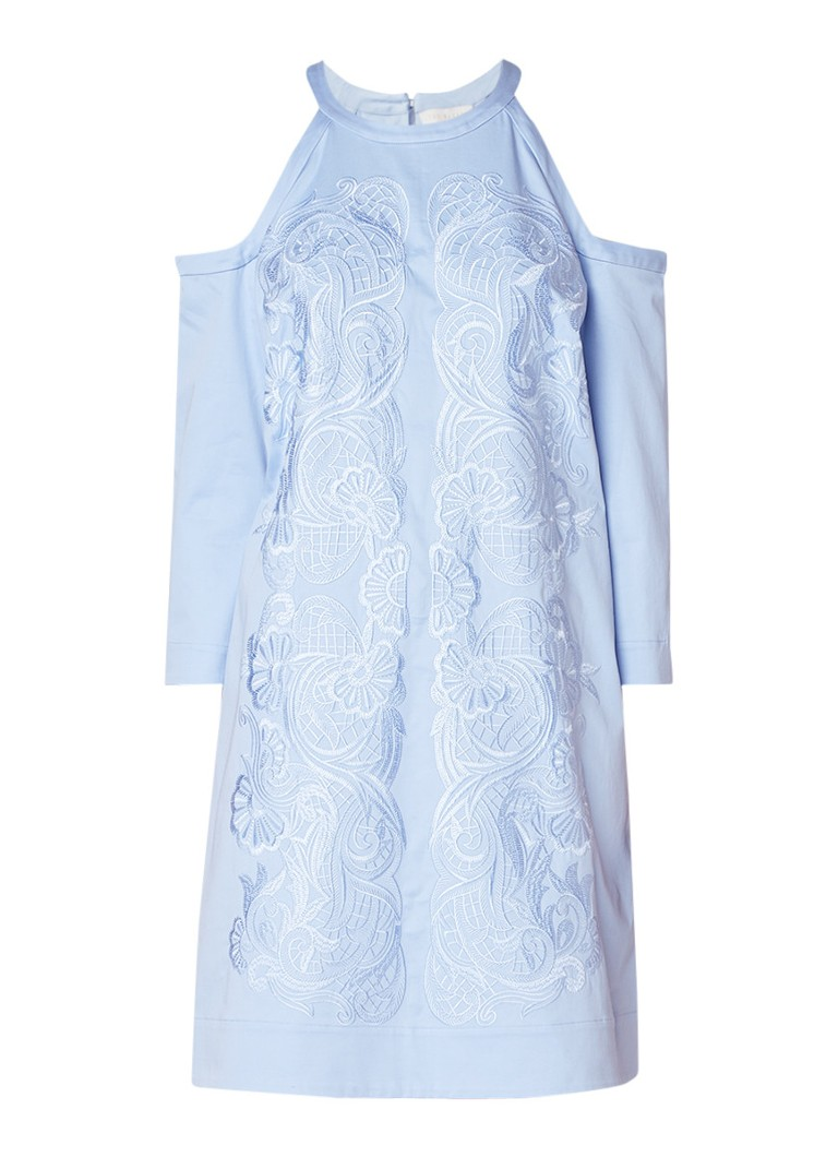 Ted Baker Jettas cold shoulder jurk met borduring lichtblauw