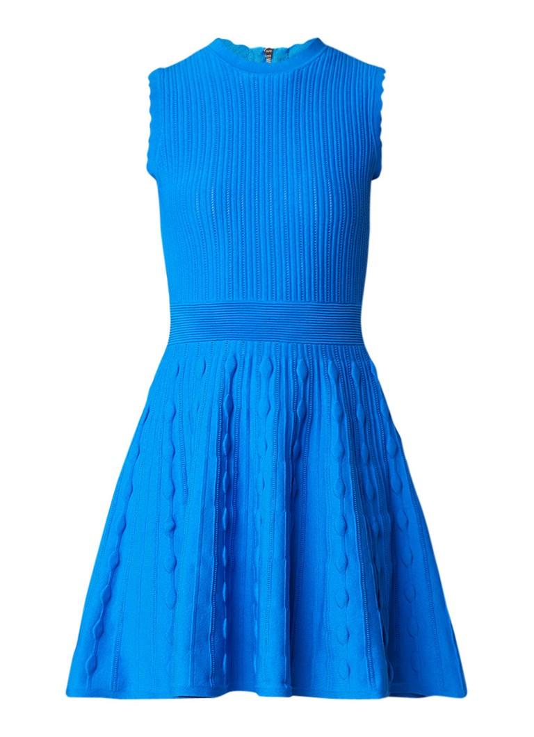 Ted Baker Kamylia mouwloze A-lijn jurk met structuur middenblauw