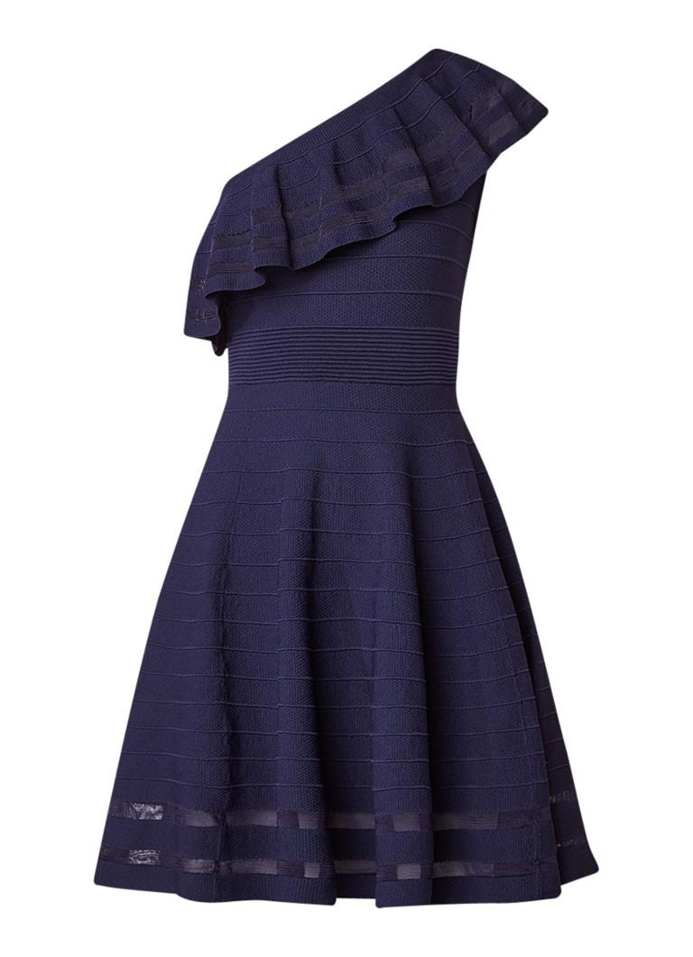 Ted Baker Streena one shoulder A-lijn jurk met volant en ribstructuur donkerblauw