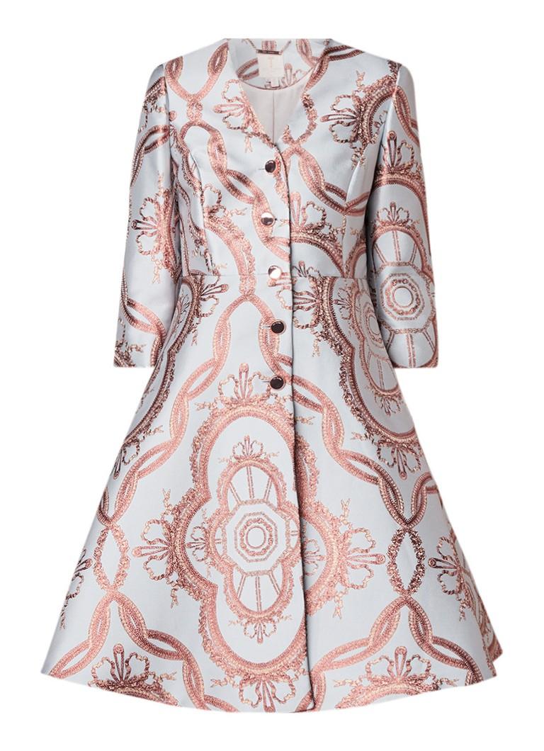 Ted Baker Metea A-lijn jurk met jacquarddessin en lurex lichtblauw