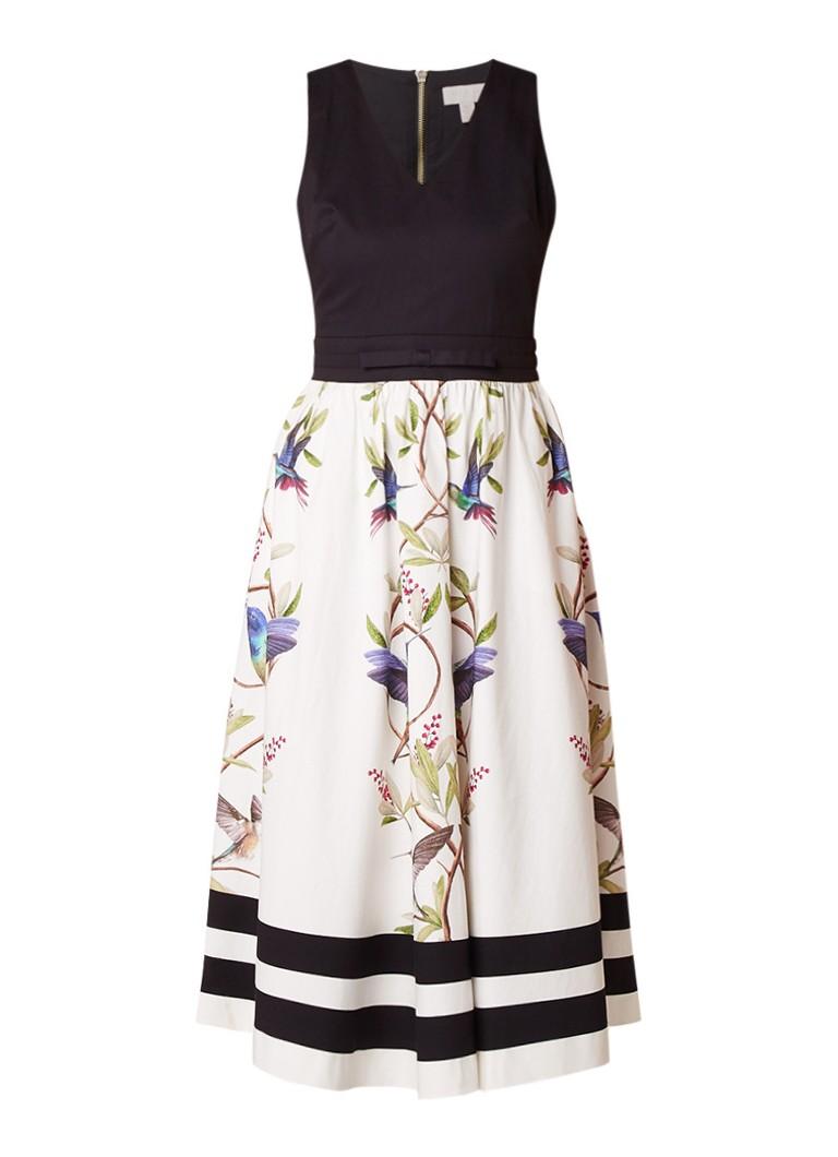 Ted Baker Reice A-lijn jurk met contrast en vogelprint wit