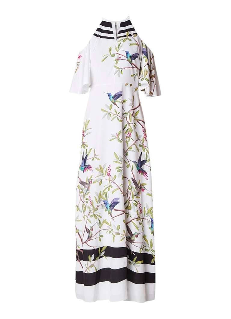 Ted Baker Yarpa cold shoulder maxi-jurk met vogeldessin wit