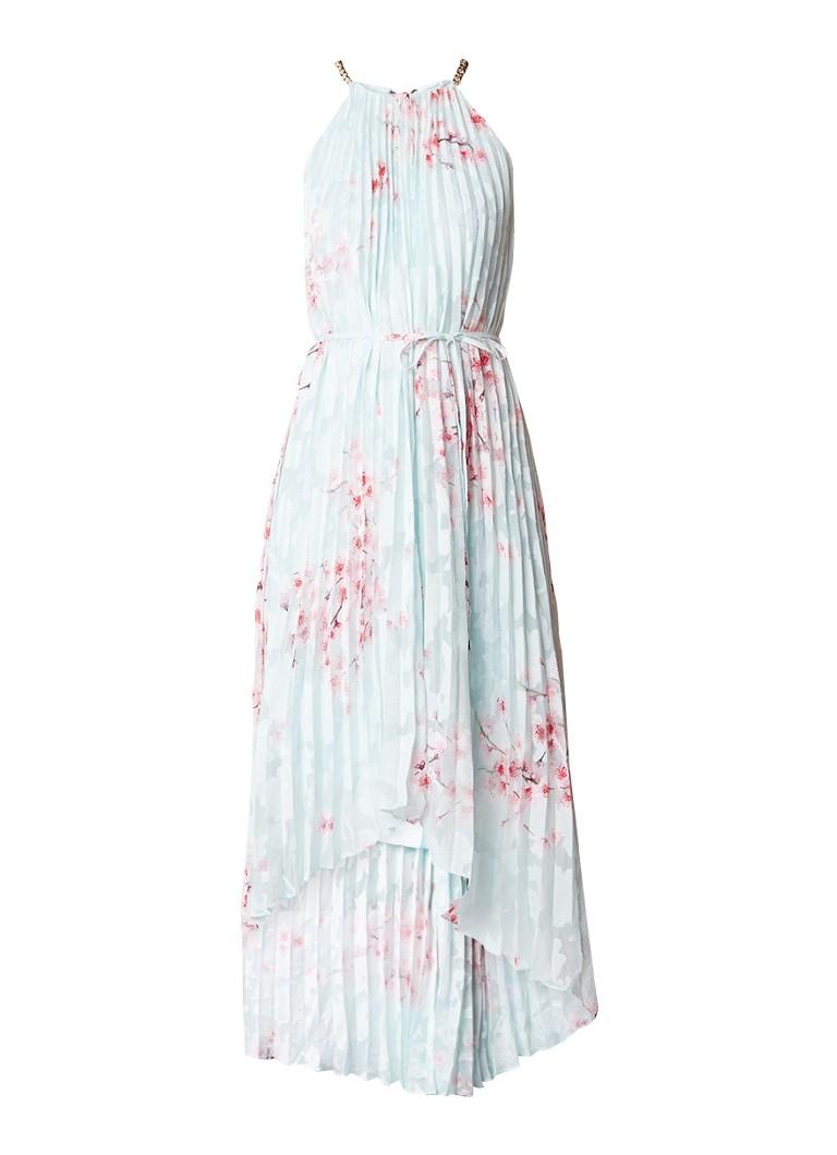 Ted Baker Aureila asymmetrische plissé jurk met bloemendessin mint
