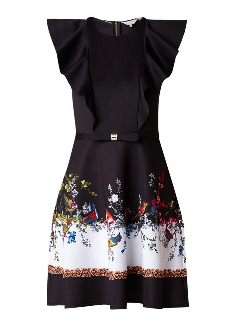 Ted Baker Shaelin A-lijn jurk van neopreen met volant zwart