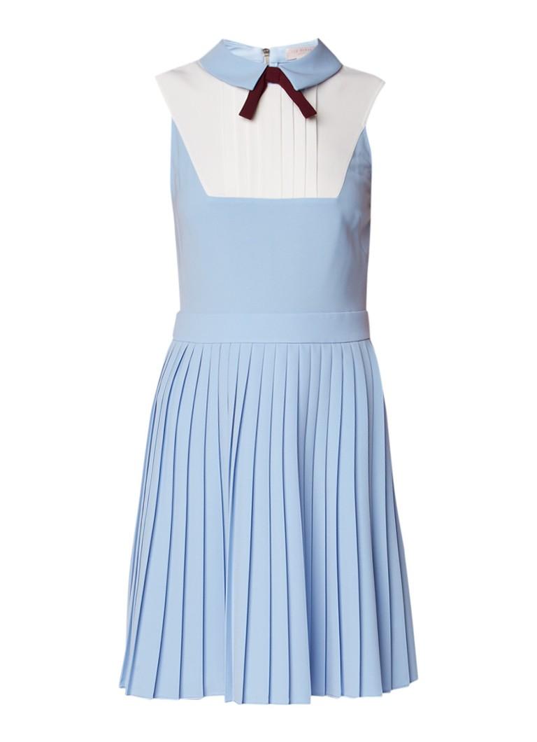 Ted Baker Miyya A-lijn jurk met strik en plissé lichtblauw