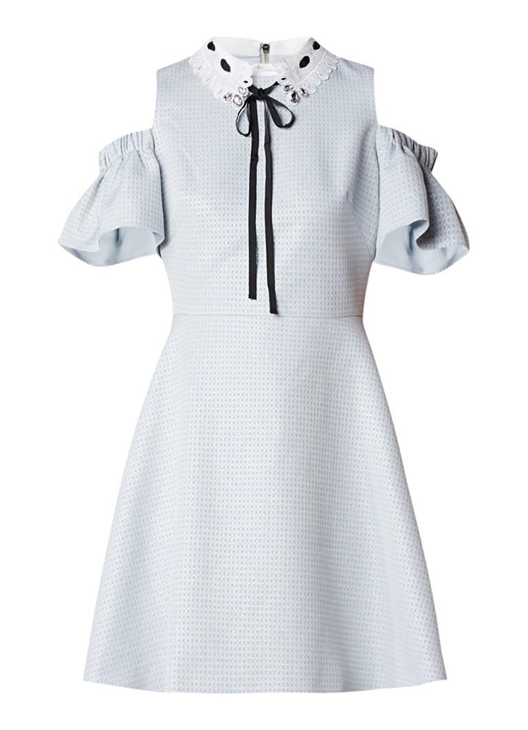 Ted Baker Araye cold shoulder A-lijn jurk met ingebreid dessin blauwgrijs
