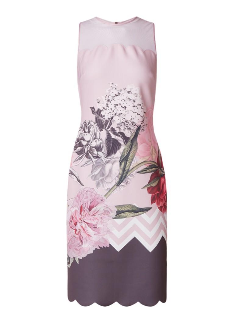 Ted Baker Palace Gardens bodycon jurk met geschulpt meshdetail lichtroze