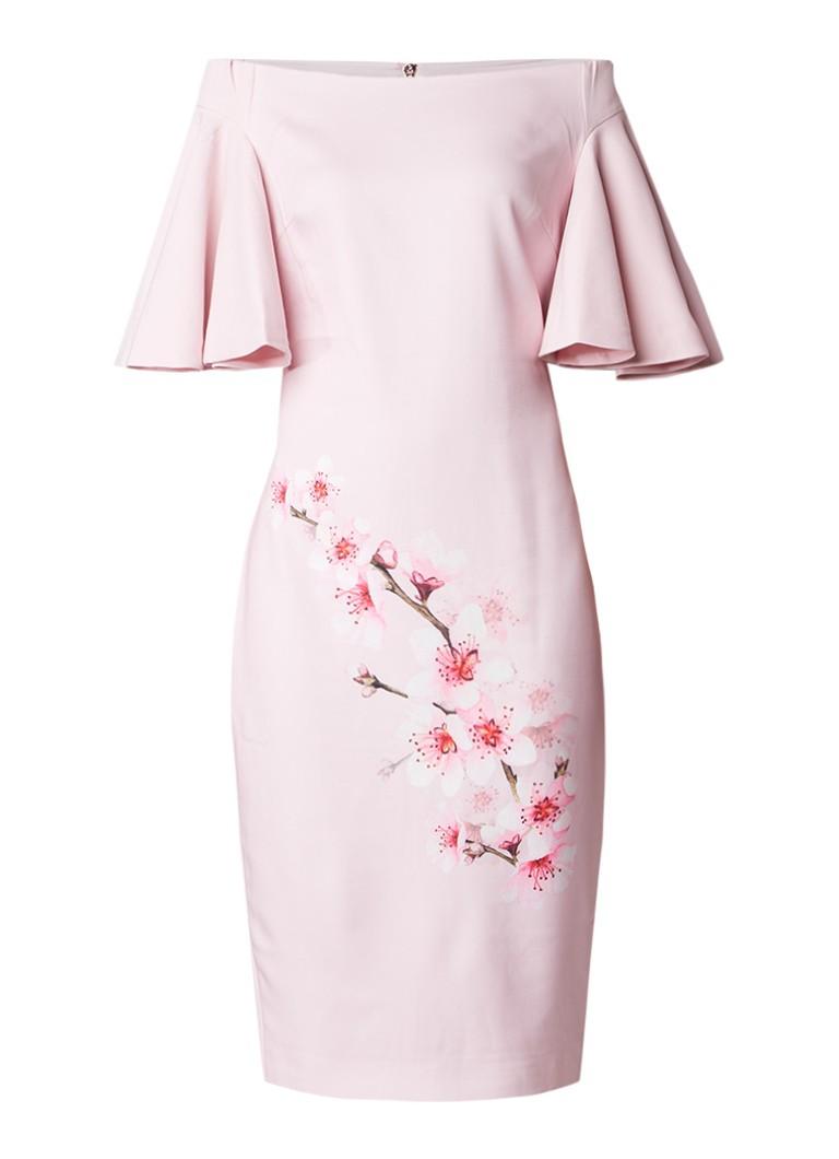 Ted Baker Calinda bardot midi-jurk met bloemendessin lichtroze