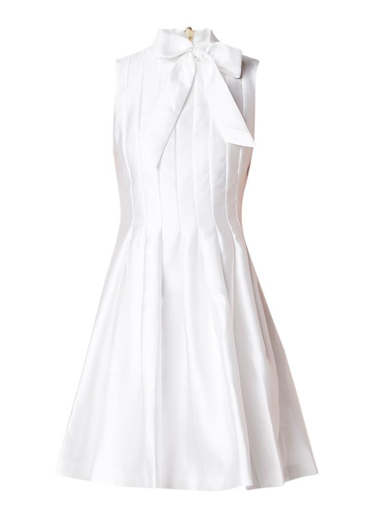 Ted Baker Doora geplooide A-lijn jurk van satijn met strik donkerblauw