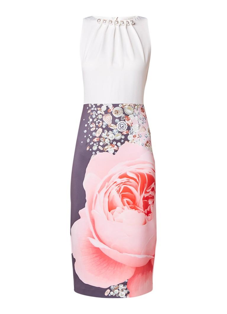 Ted Baker Rubelle bodycon jurk met contrast en parel detail roze