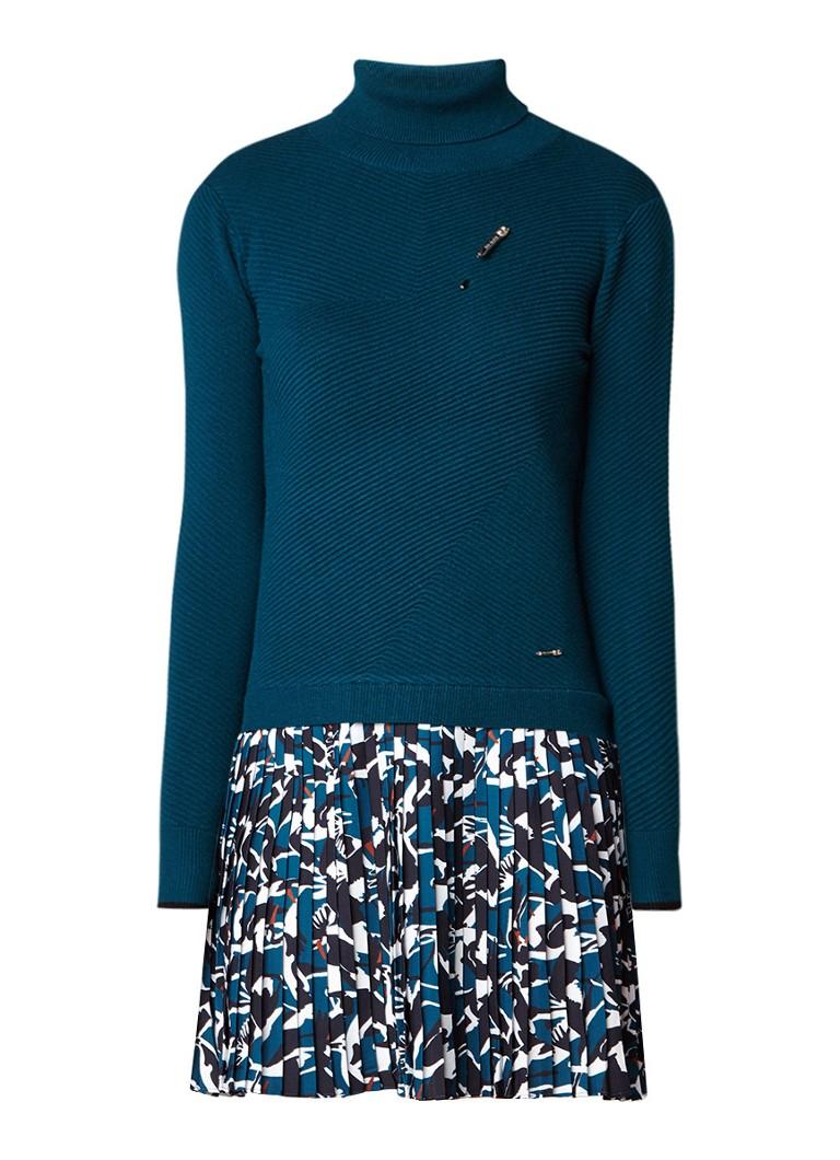 Ted Baker A-lijn jurk met contraststof en plissé zeegroen