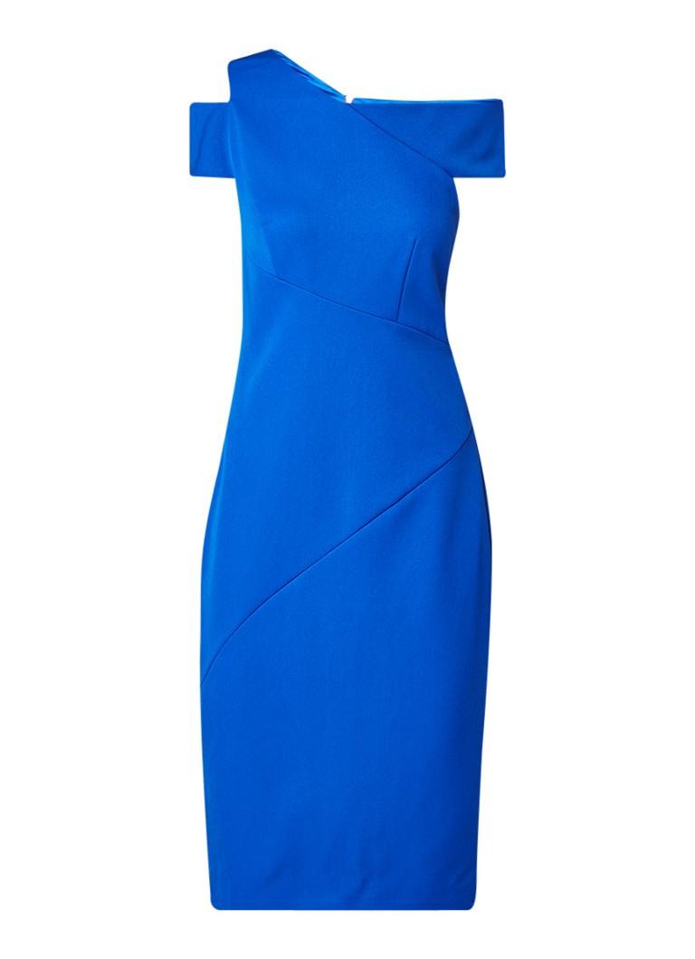 Ted Baker Yandal asymmetrische bodycon jurk royalblauw