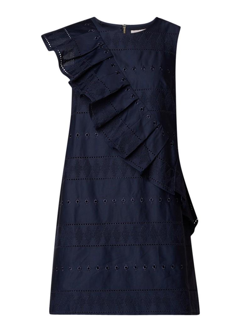 Ted Baker Mahlene A-lijn jurk met broderie donkerblauw