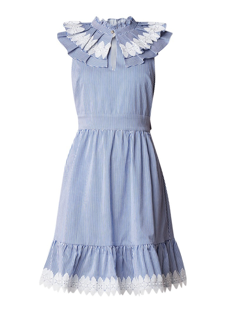 Ted Baker Kikki A-lijn jurk met streepdessin en kant kobaltblauw