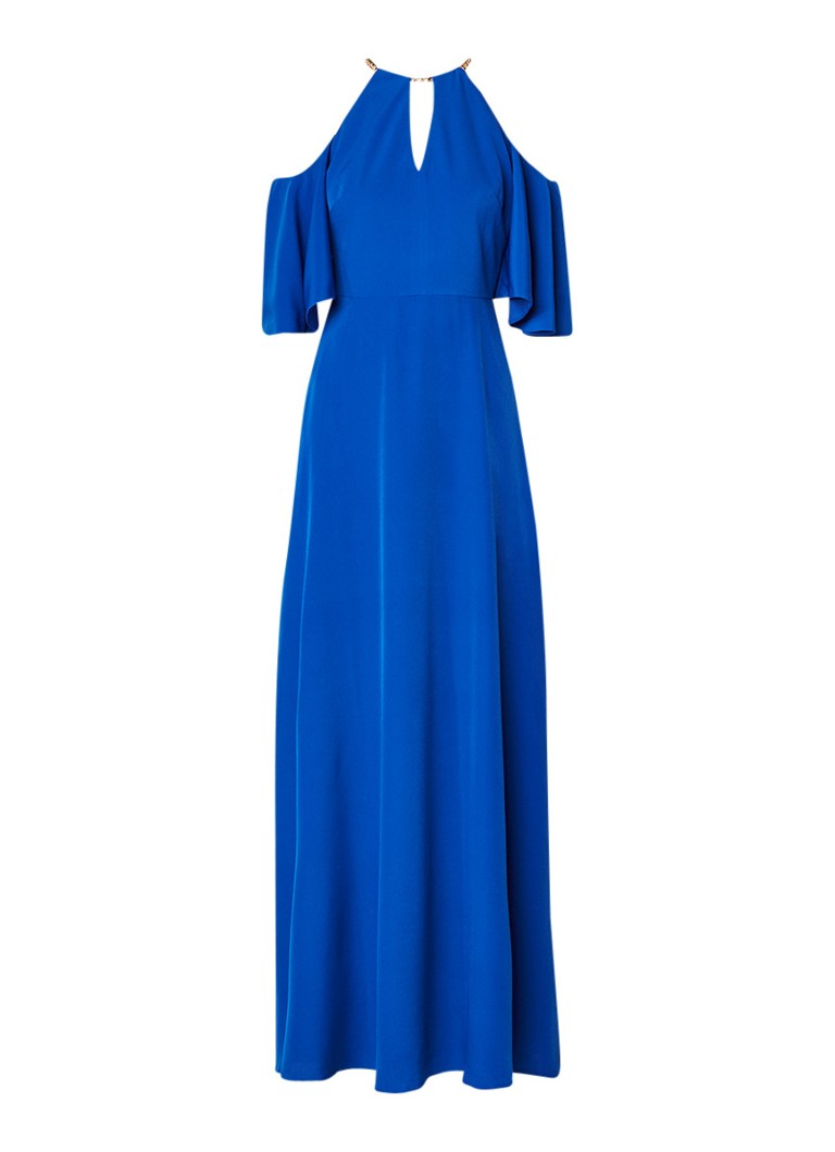 Ted Baker Bennha cold shoulder jurk met split en halsketting royalblauw