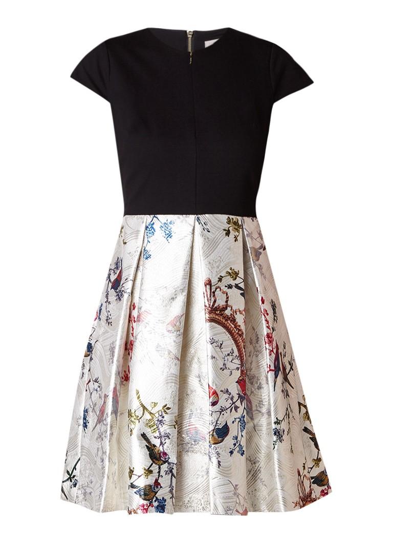Ted Baker Briege A-lijn jurk met bloemendessin en lurex zwart