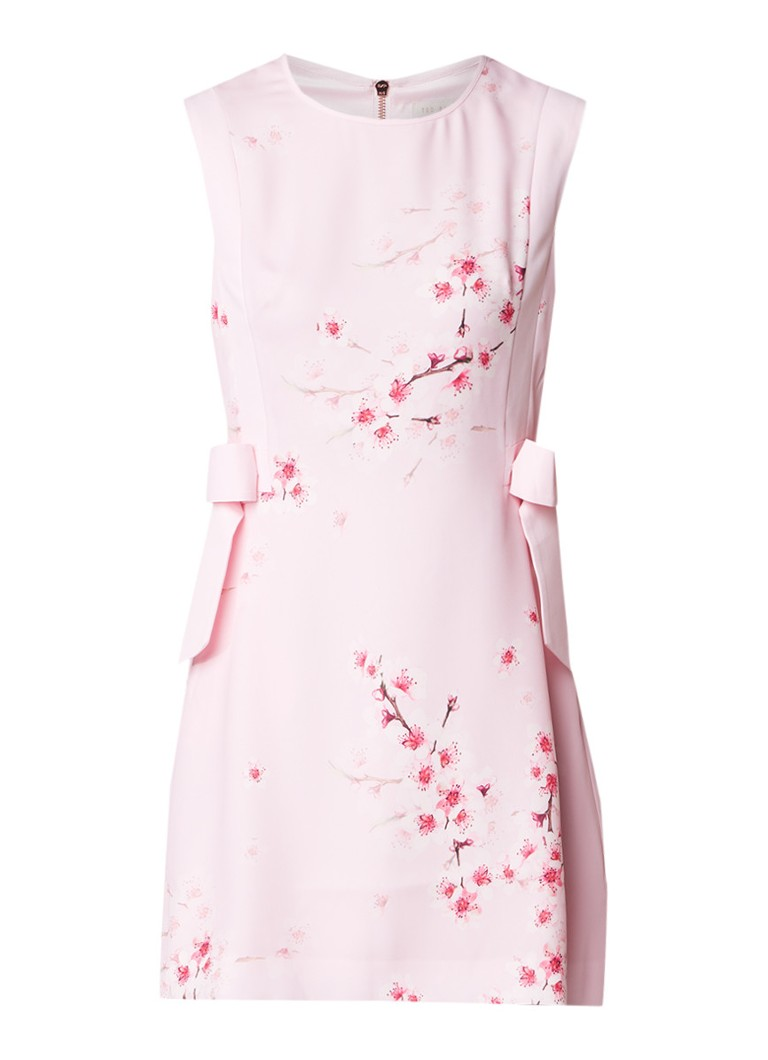 Ted Baker Seella A-lijn jurk met bloemendessin en strikdetail lichtroze