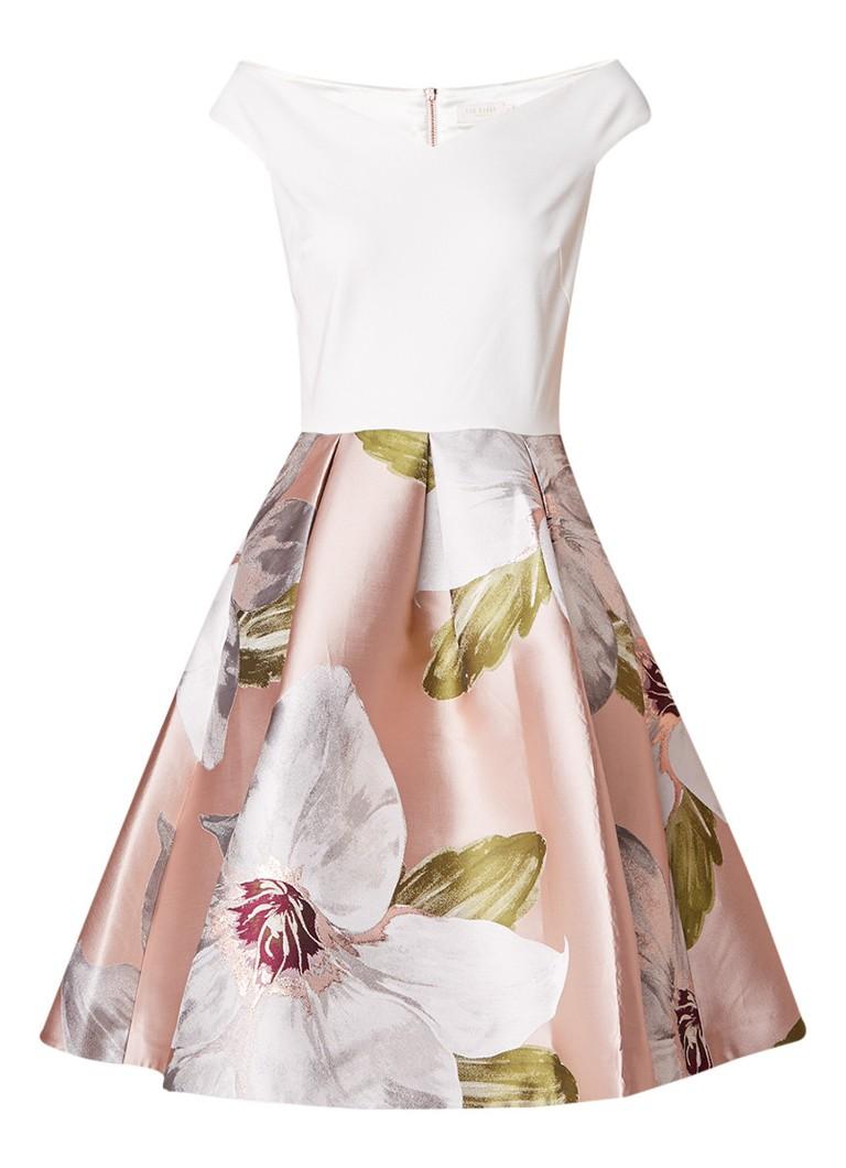 Ted Baker Valtia off shoulder A-lijn jurk met bloemendessin roze