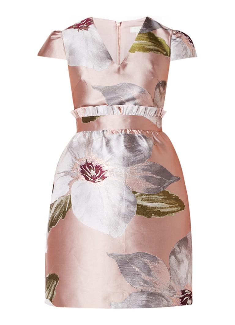 Ted Baker Chatsworth A-lijn jurk met ruches en bloemendessin oudroze