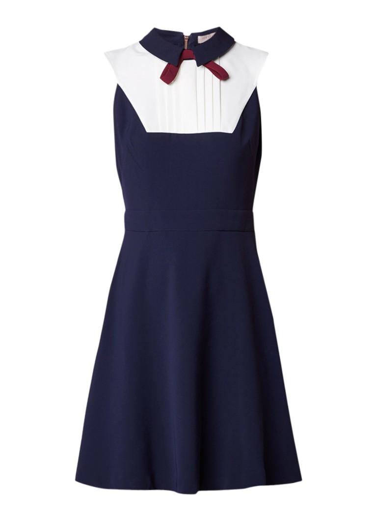 Ted Baker Miyylee A-lijn jurk met plissé en strik donkerblauw