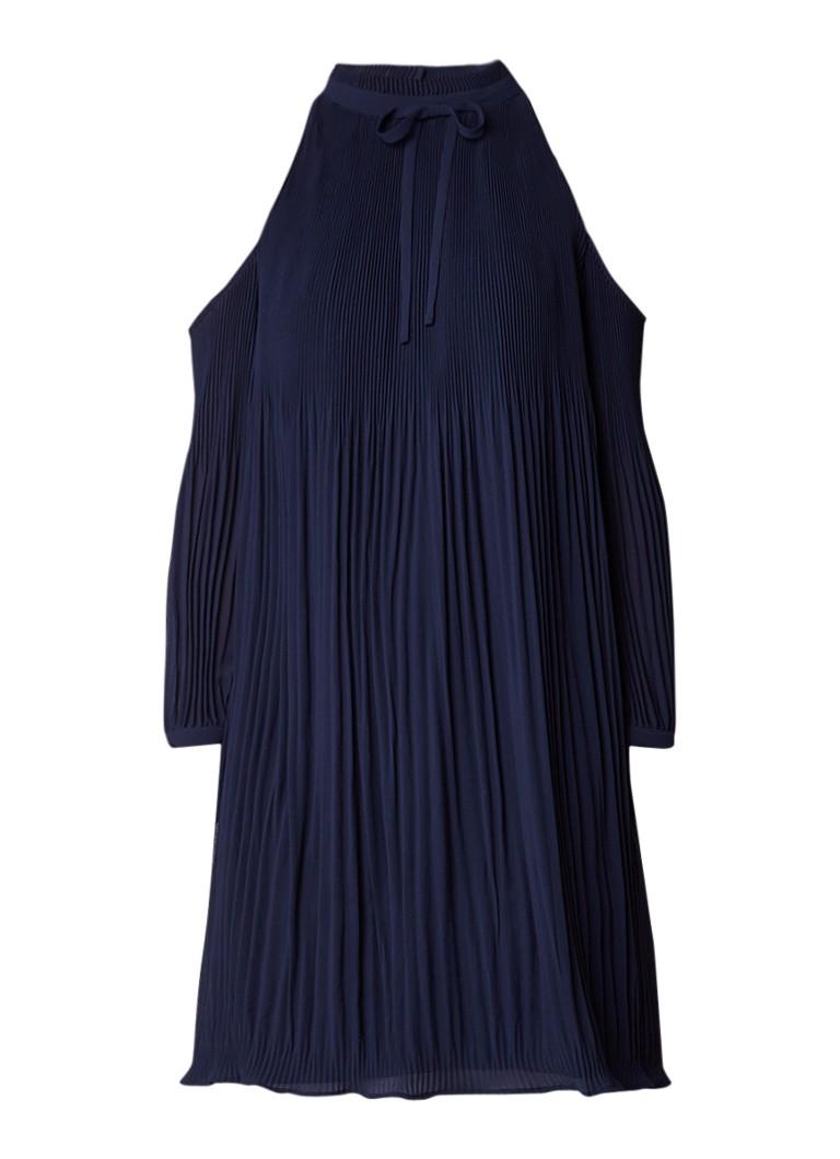 Ted Baker Saniita geplisseerde cold shoulder A-lijn jurk donkerblauw