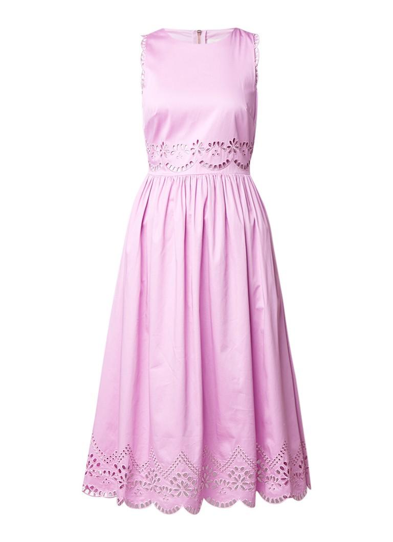Ted Baker Violet geplooide A-lijn jurk van katoen met broderie lila