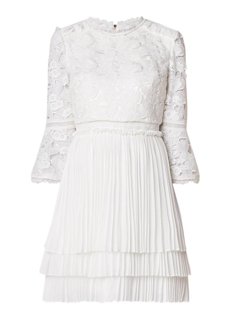 Ted Baker Stefoni trouwjurk met gebloemd kant en plissé wit