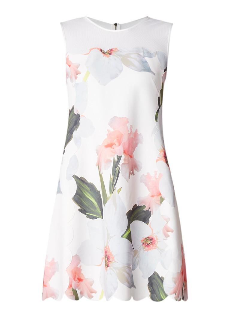 Ted Baker Caprila A-lijn jurk met detail van mesh en bloemendessin wit