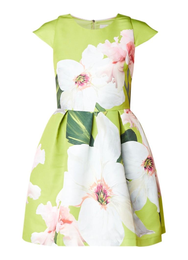 Ted Baker Lynetta A-lijn jurk met bloemendessin felgroen