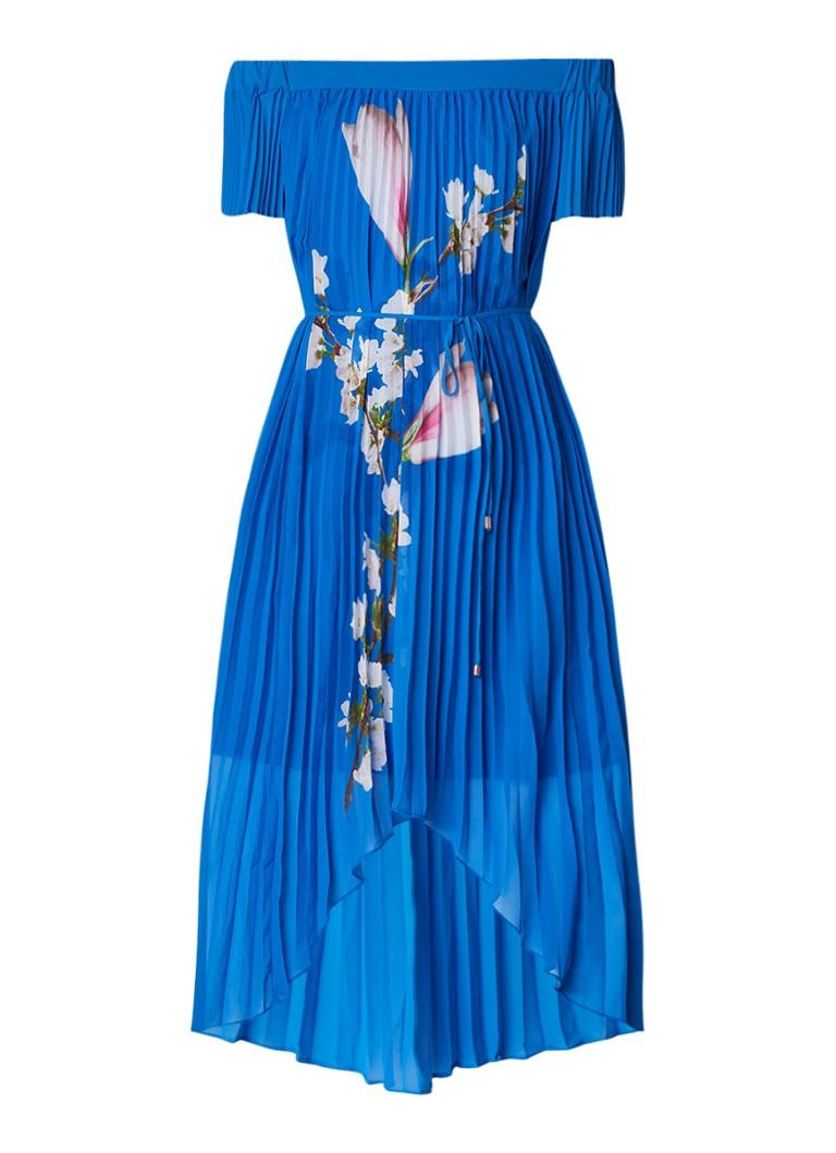 Ted Baker Melma plissé jurk met bloemenprint kobaltblauw