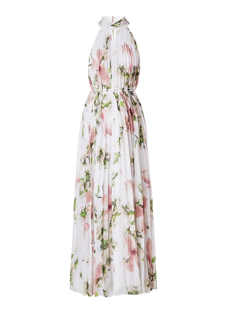 Ted Baker Nicee plissé maxi-jurk met bloemenprint gebroken wit