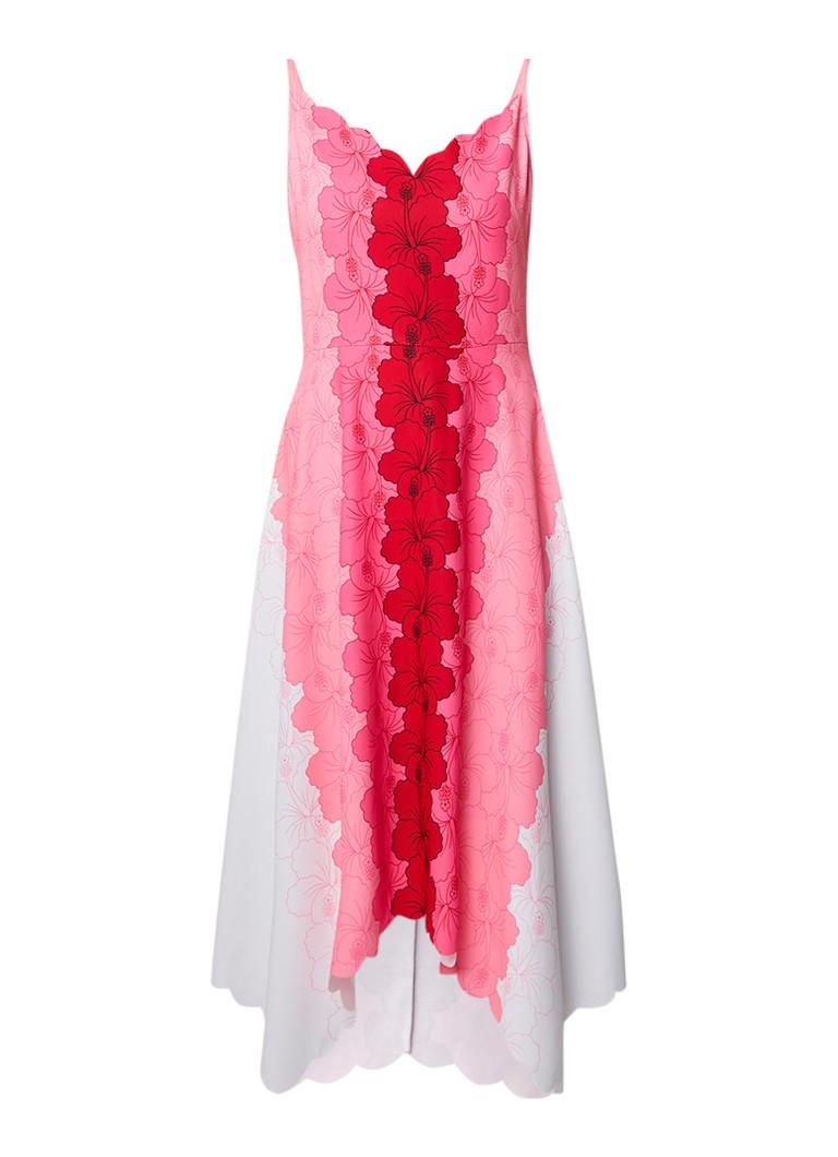 Ted Baker Happiness asymmetrische midi-jurk met bloemendessin neonroze