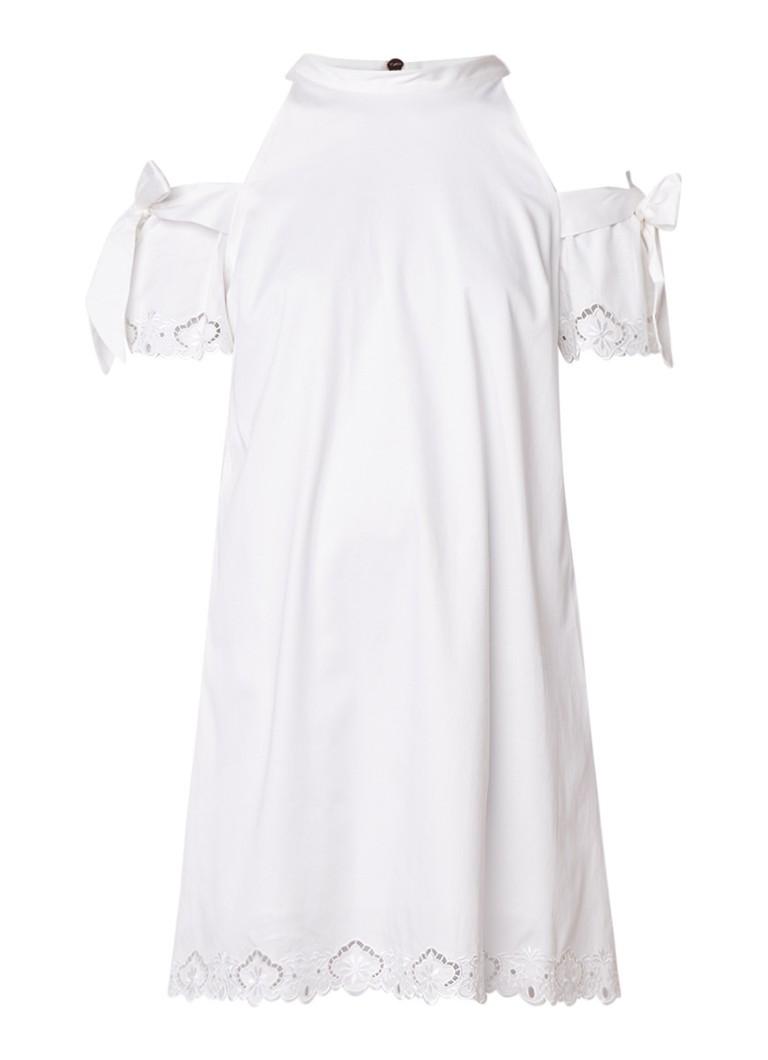 Ted Baker Semarra cold shoulder midi-jurk met broderie en strikmouw wit