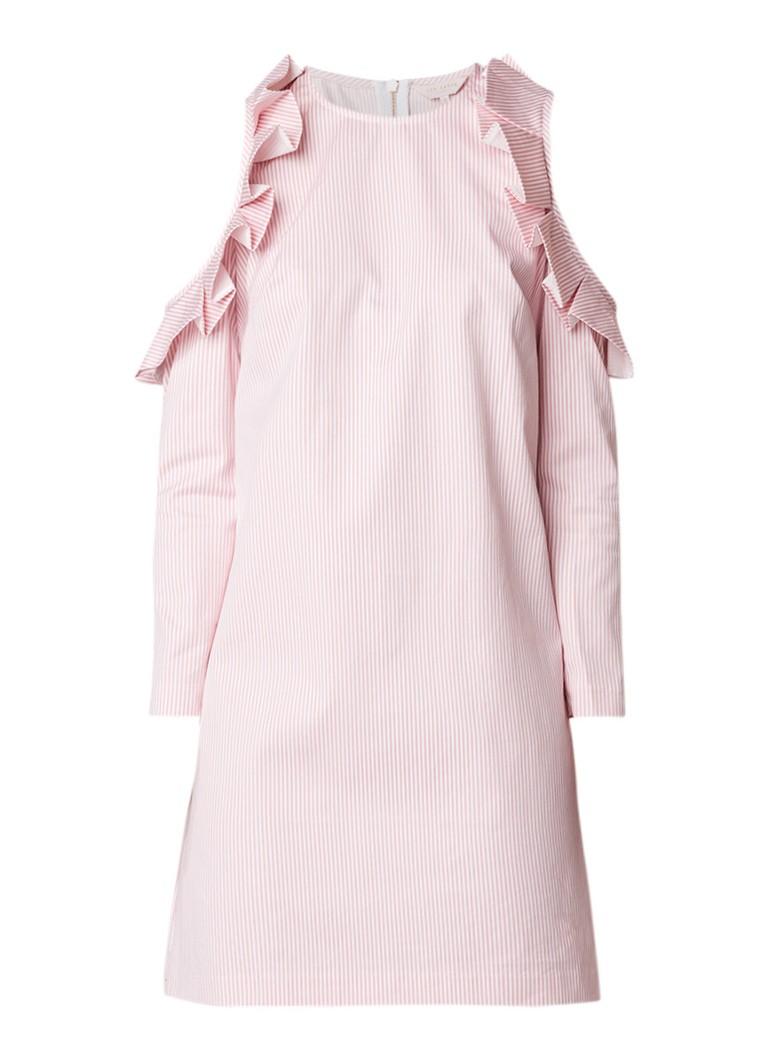 Ted Baker Zyliah cold shoulder jurk met ruches en streepdessin lichtroze