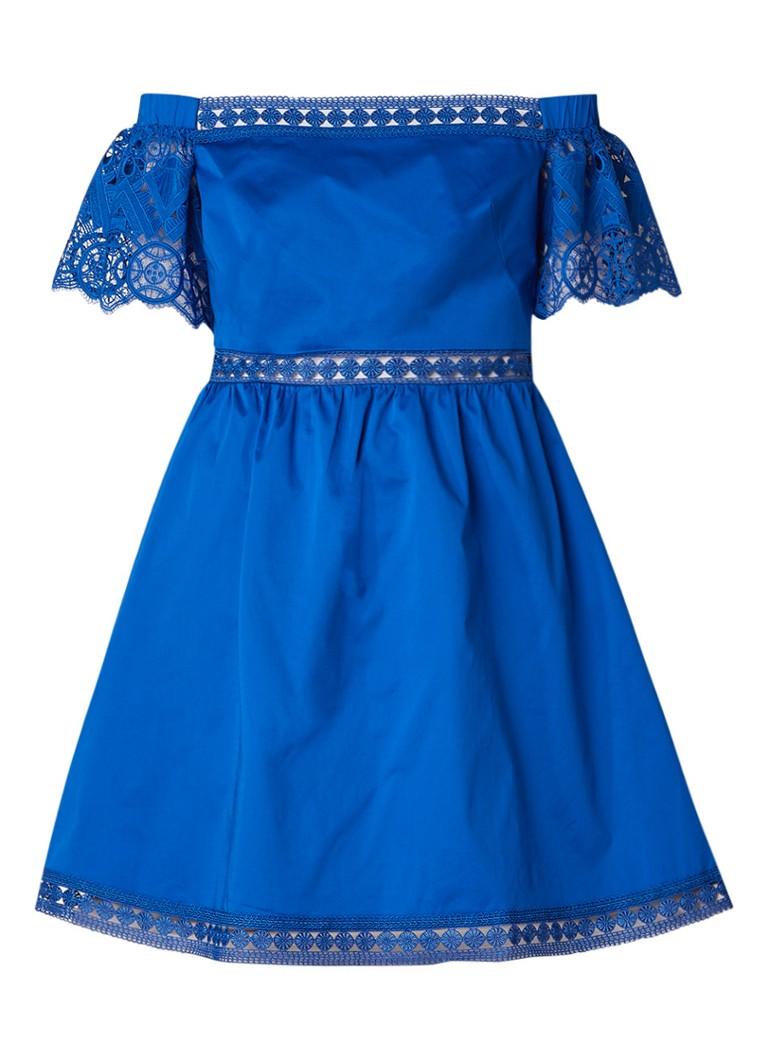 Ted Baker Loulah A-lijn jurk met kant kobaltblauw