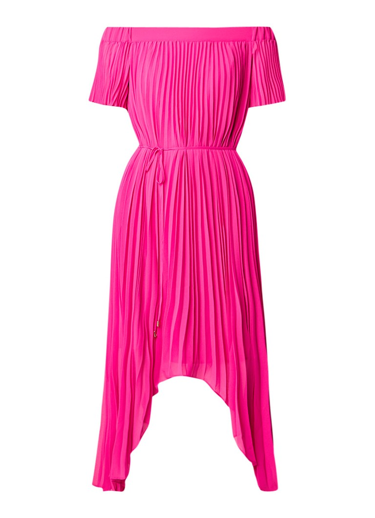 Ted Baker Melli geplisseerde off shoulder jurk van chiffon neonroze