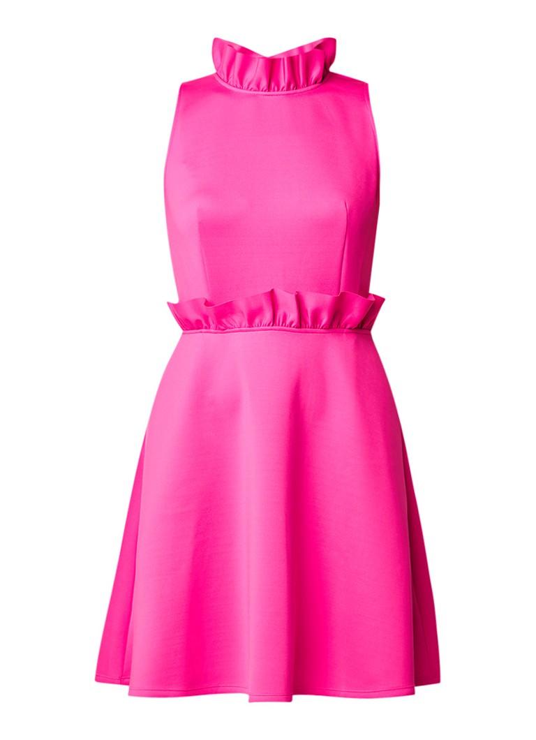 Ted Baker A-lijn jurk van neopreen met ruches neonroze